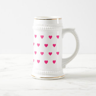 Editable Background Color - Pink Heart Pattern Beer Stein