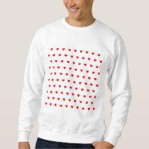 Editable Background Color - Red Heart Pattern Sweatshirt