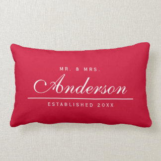 Editable Background Color Wedding Mr and Mrs Name Lumbar Pillow