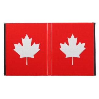 Editable Background Color, White Canada Maple leaf iPad Folio Covers