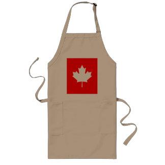 Editable Background Color, White Canada Maple Leaf Long Apron