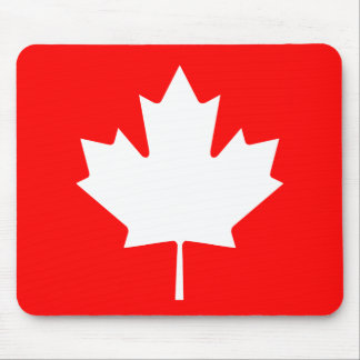 Editable Background Color, White Canada Maple leaf Mouse Pad