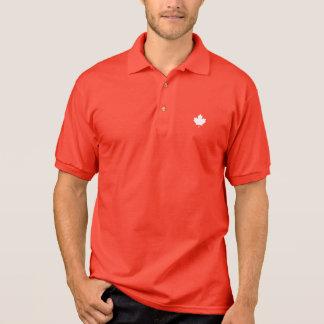 Editable Background Color, White Canada Maple Leaf Polo Shirt