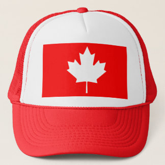 Editable Background Color, White Canada Maple Leaf Trucker Hat