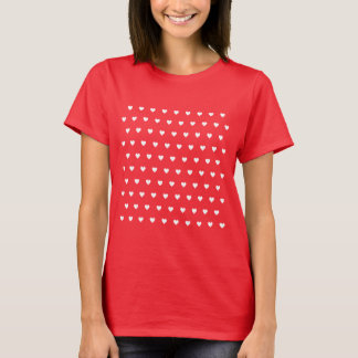 Editable Background Color - White Heart Pattern T-Shirt