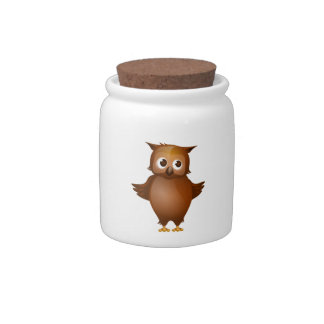 Editable Background - Cute Brown Owl Candy Jars