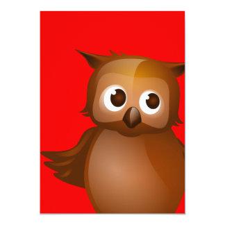 Editable Background - Cute Brown Owl Card