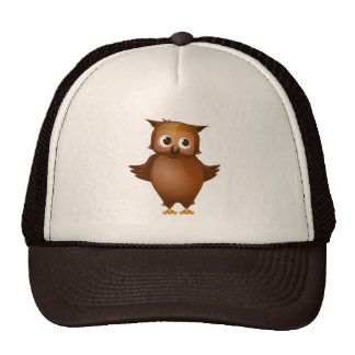 Editable Background - Cute Brown Owl Hats