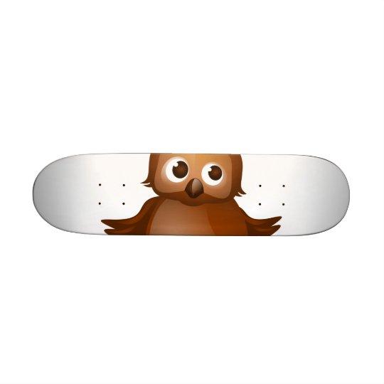 Editable Background - Cute Brown Owl Skateboard