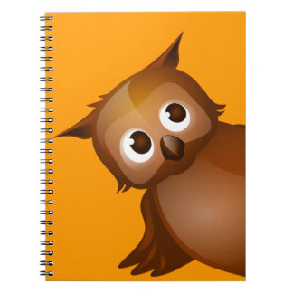 Editable Background - Cute Brown Owl Spiral Notebook