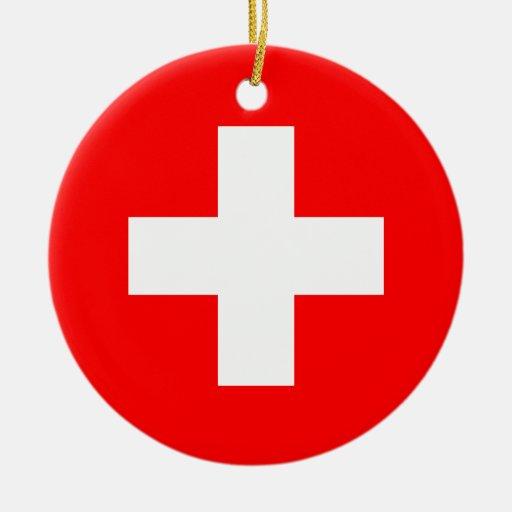 Editable Background, The Flag of Switzerland Christmas Ornaments