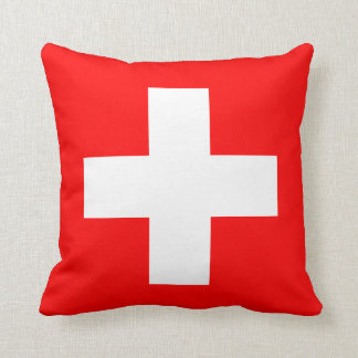 Editable Background, The Flag of Switzerland Throw Pillow