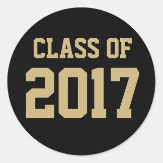 Editable Black Gold Class of 2018 Graduation Classic Round Sticker