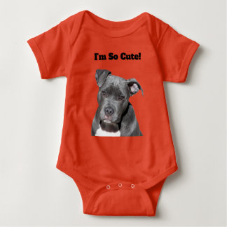 Editable Black Pitbull Baby Bodysuit