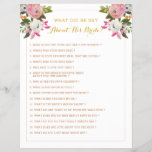"""Editable Bridal Shower Game Pink Gold Floral<br><div class=""""desc"""">Romantic pink and white painted florals bridal shower game with gold text.   Change the title and questions to anything you need.  The gorgeous painted florals are by Create the Cut. Find them on Creative Market https://crmrkt.com/7WdAX,  Etsy https://www.etsy.com/shop/CreateTheCut,  and  www.createthecut.com</div>"""