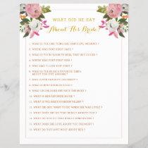 Editable Bridal Shower Game Pink Gold Floral
