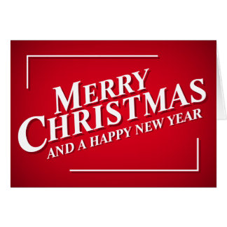 Editable Bright Red Merry Christmas Greetings Card