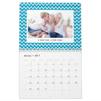 Editable Color and Caption Modern Photo Calendar