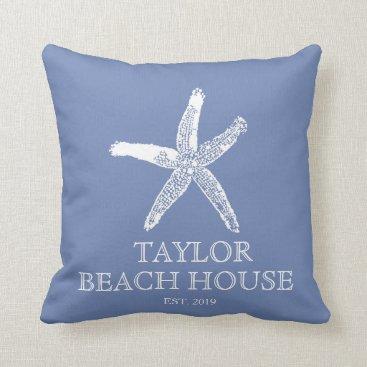 Beach Themed Editable Color Blue Starfish Beach House Pillow