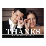 Editable Color Bold Thanks Photo Thank You Card