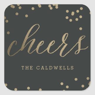 EDITABLE COLOR Bubbly Cheers Sticker or Labels
