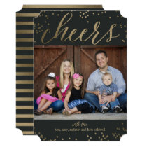 Editable Color Cheers Holiday Photo Card