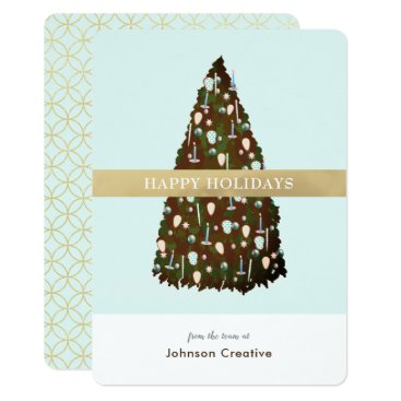Professional Business Editable Color ChristmasTree Business Holiday Card
