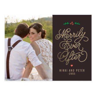 EDITABLE COLOR Merrily Ever After Holiday Postcard