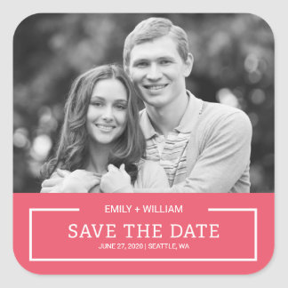 Editable Color Minimalist Save the Date Photo Square Sticker