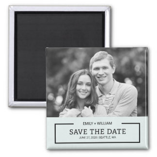 Editable Color Modern Black Save the Date Photo Magnet