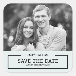 Editable Color Modern Black Save the Date Photo Square Sticker