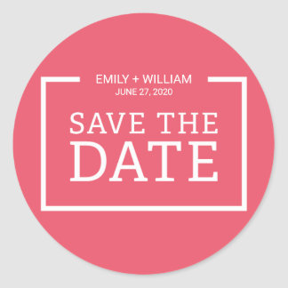 Editable Color Modern Minimalist Save the Date Classic Round Sticker