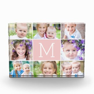EDITABLE COLOR Monogram Collage Photo Block