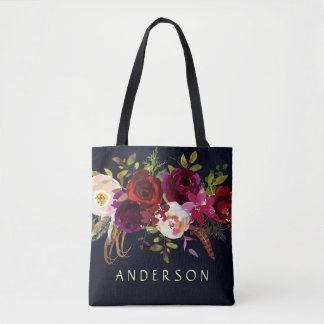 EDITABLE COLOR Navy Marsala Rustic Boho Floral Tote Bag