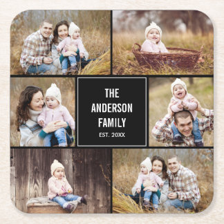 Editable Color Square Photo Collage Coasters