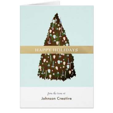 Professional Business Editable Color Tree Business Holiday Photo Card