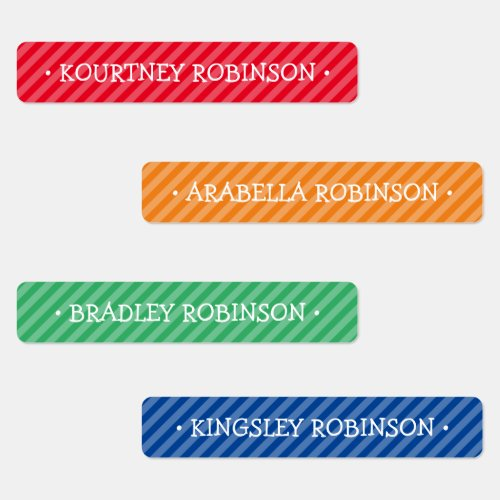 Editable Colorful School Kids Name Labels