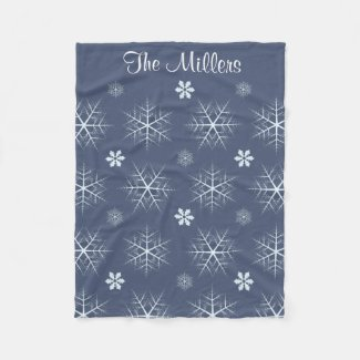 Editable Dark Blue Editable Snowflake blanket