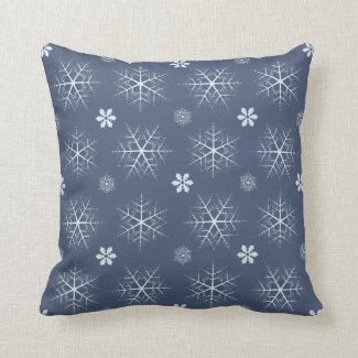 Editable Dark Blue Snowflake Editable Pillow
