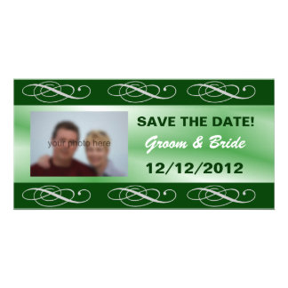 Editable elegant green wedding save the date customized photo card