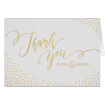 Editable faux gold glitter calligraphy thank you