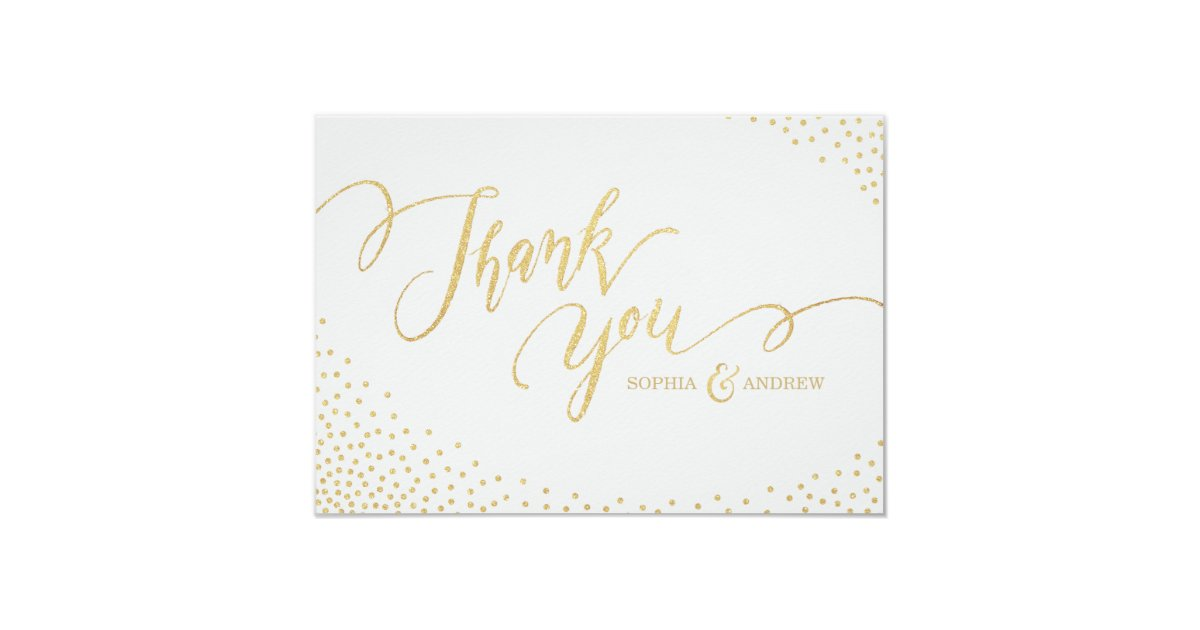 Editable Faux Gold Glitter Calligraphy Thank You Card Zazzle