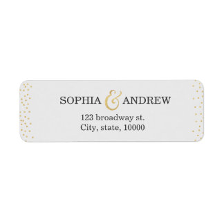 Editable faux gold glitter confetti return address label