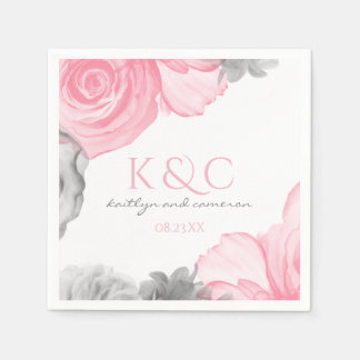 Editable Flower Color Watercolor Wedding Napkin