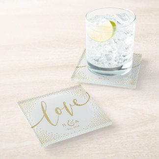 Editable glam faux gold glitter calligraphy love glass coaster