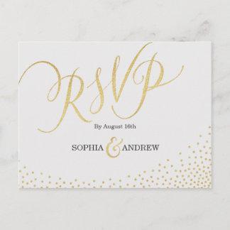 Editable glam faux gold glitter calligraphy RSVP Invitation Postcard
