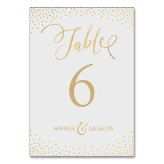 Editable glam faux gold glitter table number card