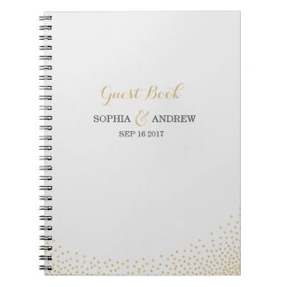 Editable glam faux gold glitter wedding guest book