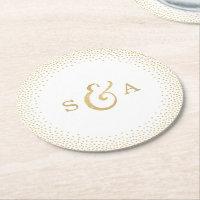 Editable glam faux gold glitter wedding monogram round paper coaster