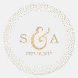 Editable gold glitter vintage wedding monogram classic round sticker